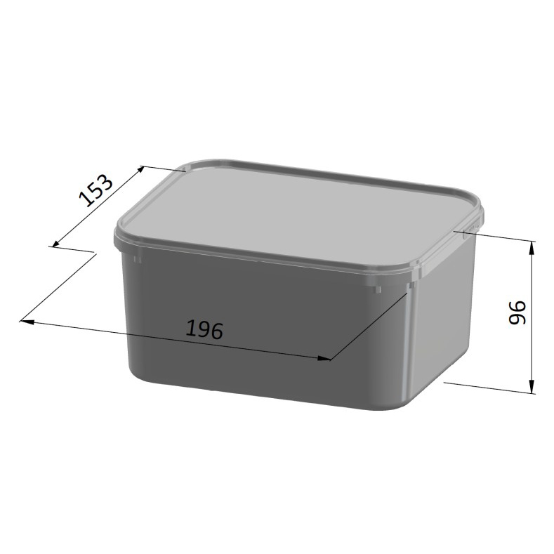 2 Litre Square Container